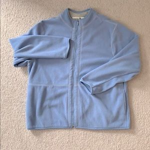 Baby blue pastel oversized zip up fleece sweater